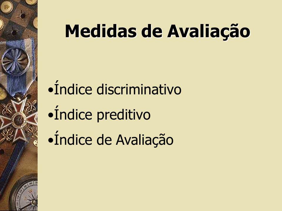 Medidas de Avaliação Índice discriminativo Índice preditivo Índice de Avaliação