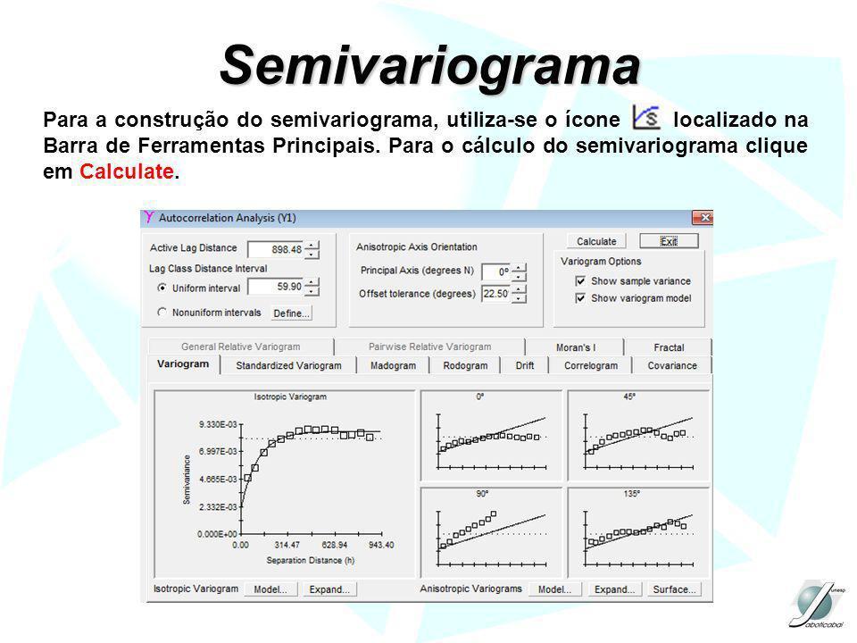 Semivariograma Para a construção do semivariograma, utiliza-se o ícone localizado na Barra de Ferramentas Principais. Para o cálculo do semivariograma