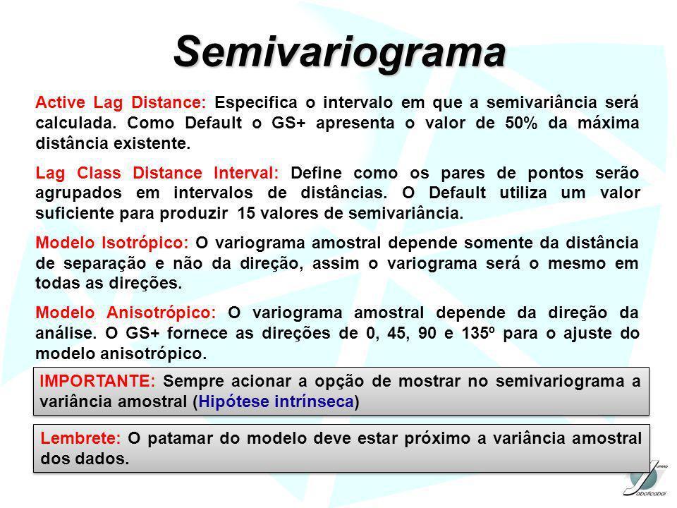 Semivariograma Active Lag Distance: Especifica o intervalo em que a semivariância será calculada. Como Default o GS+ apresenta o valor de 50% da máxim
