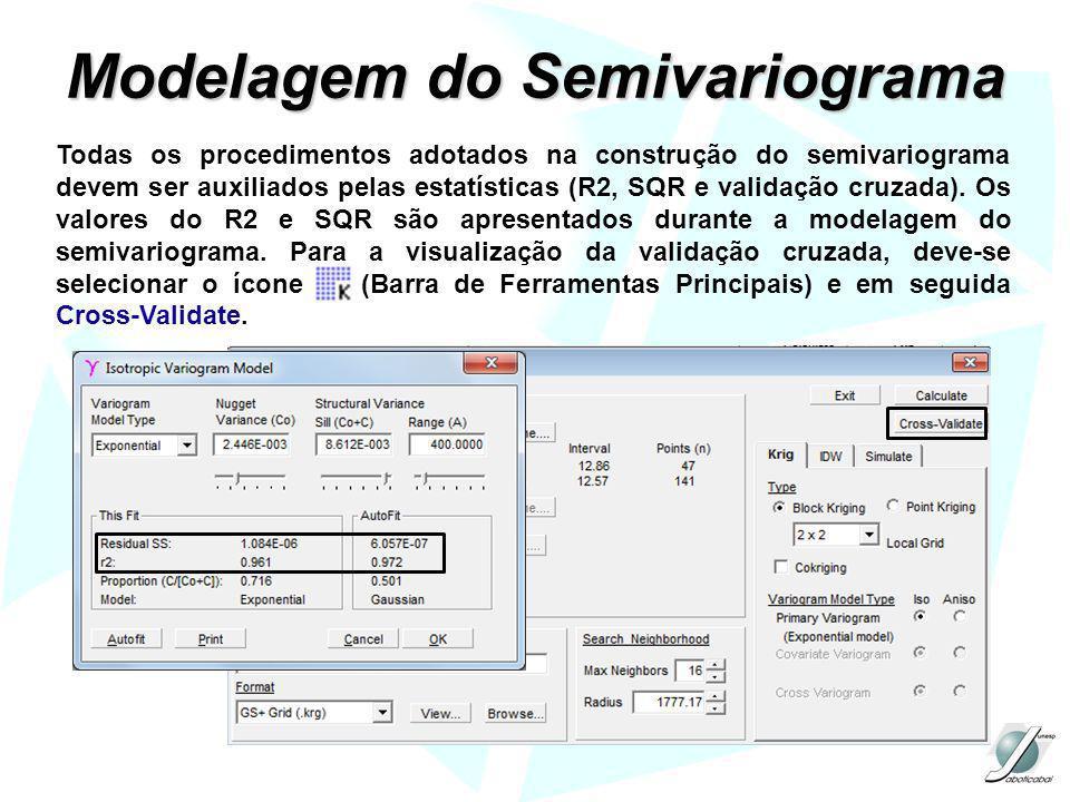 Modelagem do Semivariograma Todas os procedimentos adotados na construção do semivariograma devem ser auxiliados pelas estatísticas (R2, SQR e validaç