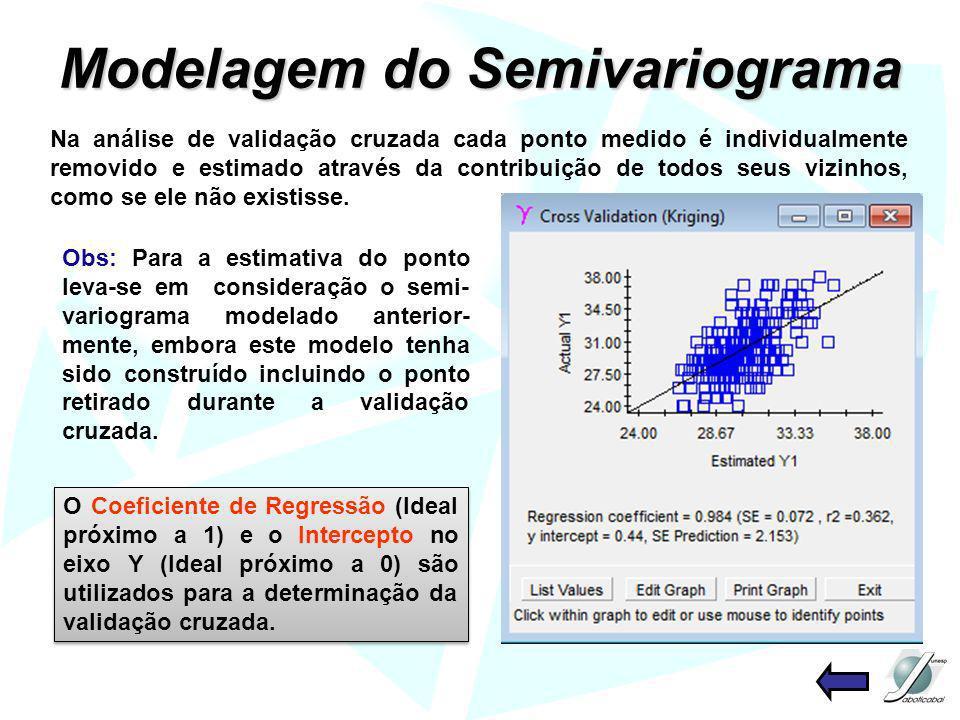 Modelagem do Semivariograma Na análise de validação cruzada cada ponto medido é individualmente removido e estimado através da contribuição de todos s