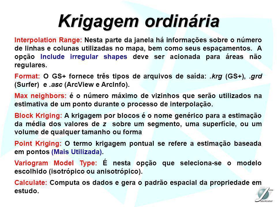 Krigagem ordinária Interpolation Range: Nesta parte da janela há informações sobre o número de linhas e colunas utilizadas no mapa, bem como seus espa
