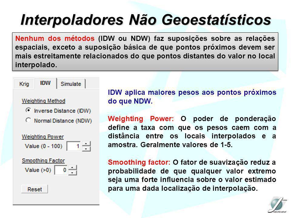 Interpoladores Não Geoestatísticos Nenhum dos métodos (IDW ou NDW) faz suposições sobre as relações espaciais, exceto a suposição básica de que pontos