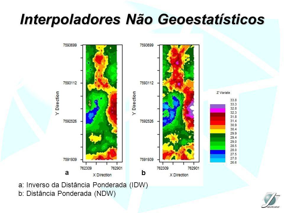 Interpoladores Não Geoestatísticos a b a: Inverso da Distância Ponderada (IDW) b: Distância Ponderada (NDW)