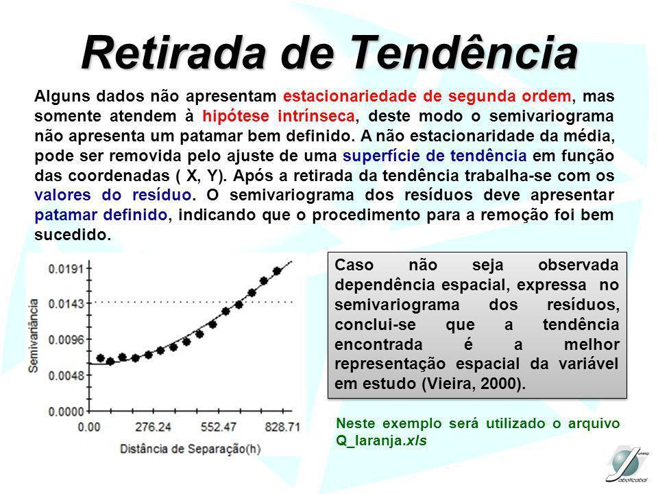 Retirada de Tendência Alguns dados não apresentam estacionariedade de segunda ordem, mas somente atendem à hipótese intrínseca, deste modo o semivario