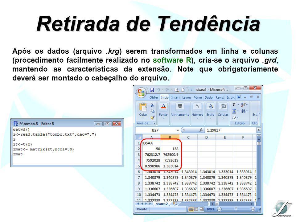 Retirada de Tendência Após os dados (arquivo.krg) serem transformados em linha e colunas (procedimento facilmente realizado no software R), cria-se o