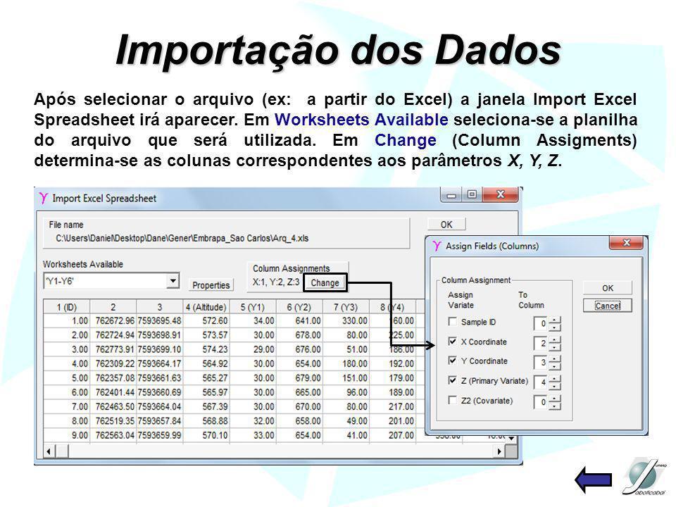 Importação dos Dados Após selecionar o arquivo (ex: a partir do Excel) a janela Import Excel Spreadsheet irá aparecer. Em Worksheets Available selecio