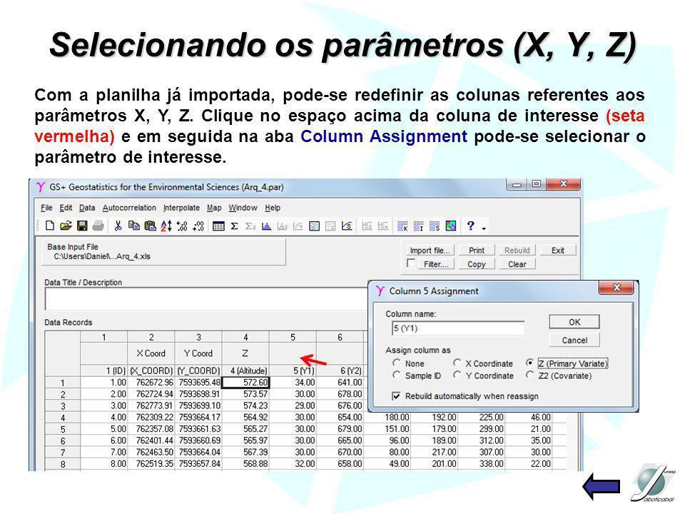 Selecionando os parâmetros (X, Y, Z) Com a planilha já importada, pode-se redefinir as colunas referentes aos parâmetros X, Y, Z. Clique no espaço aci