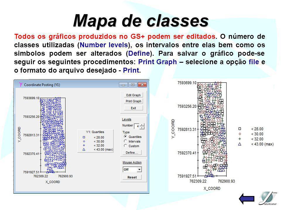 Mapa de classes Todos os gráficos produzidos no GS+ podem ser editados. O número de classes utilizadas (Number levels), os intervalos entre elas bem c