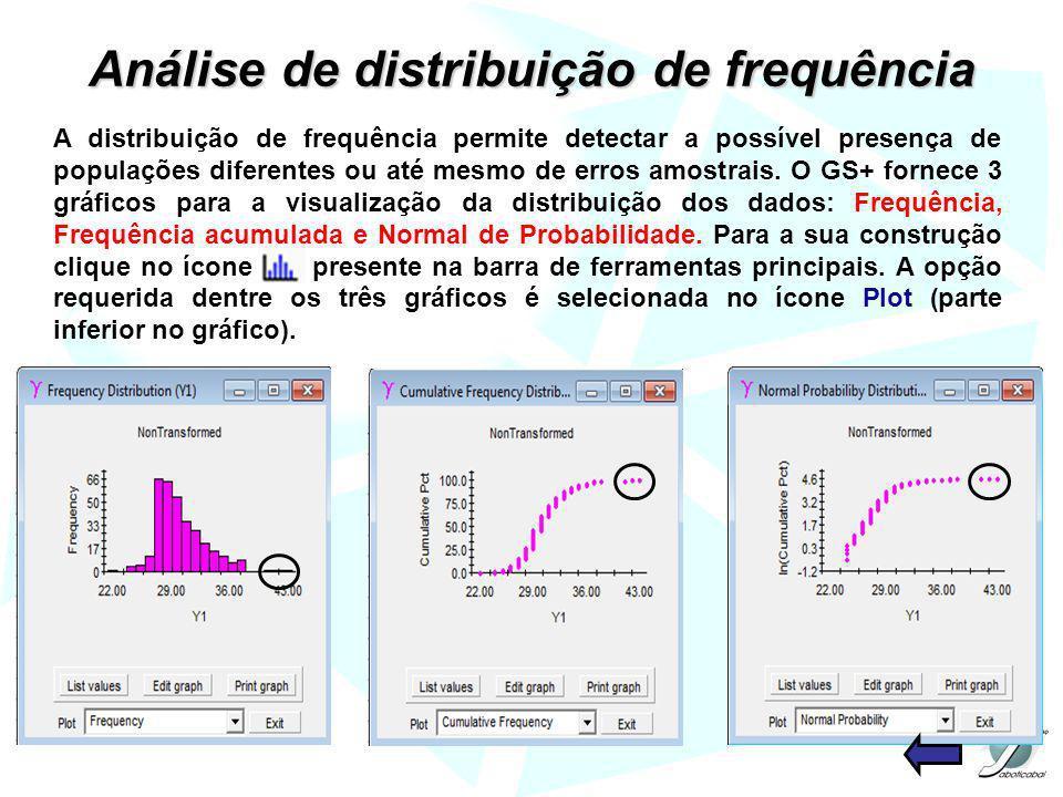 Análise de distribuição de frequência A distribuição de frequência permite detectar a possível presença de populações diferentes ou até mesmo de erros