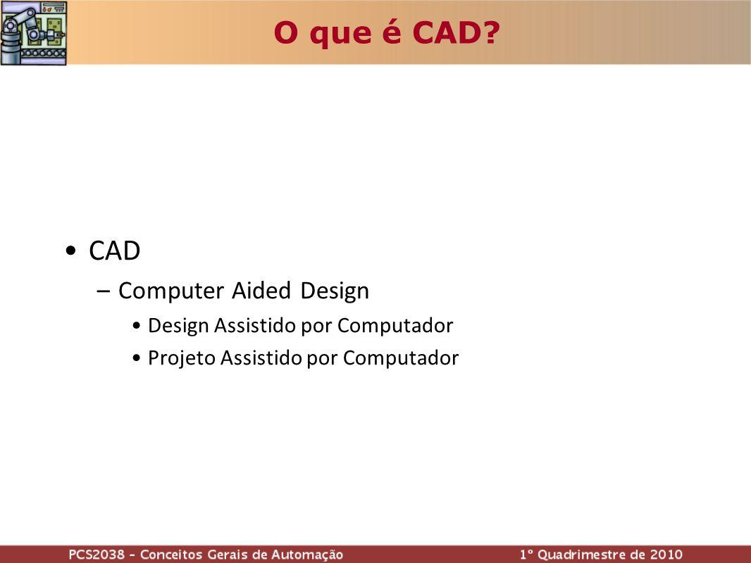 O que é CAD? CAD –Computer Aided Design Design Assistido por Computador Projeto Assistido por Computador