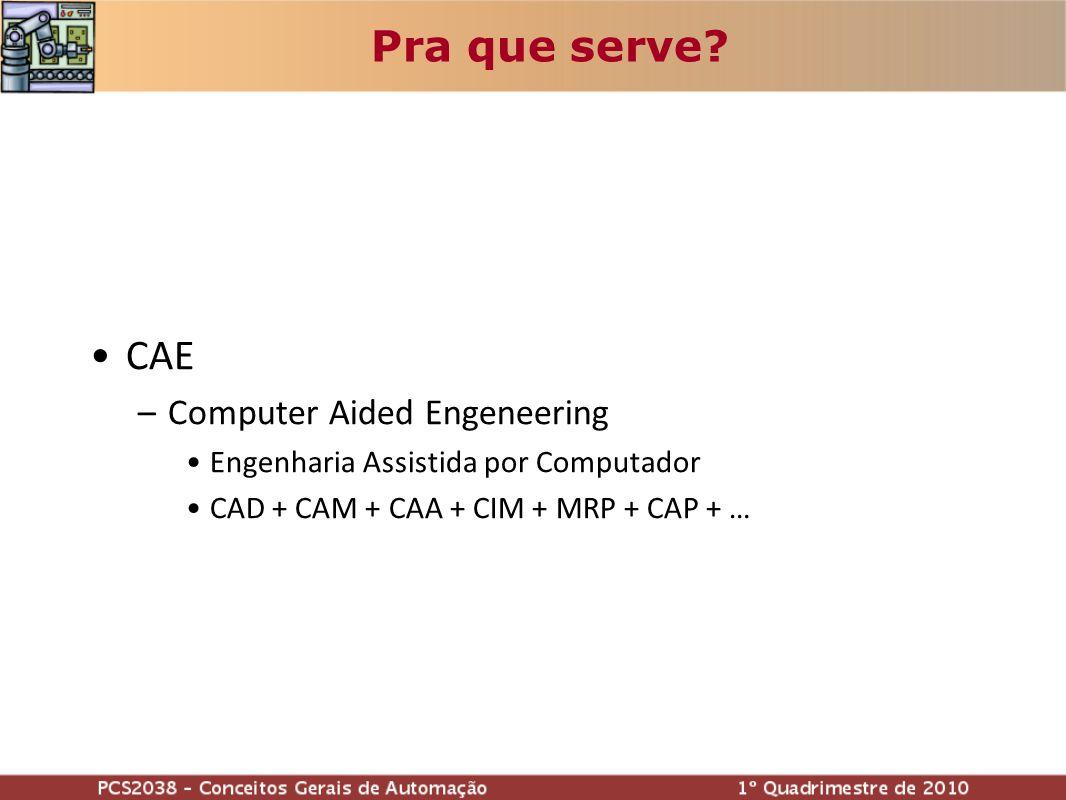 CAE –Computer Aided Engeneering Engenharia Assistida por Computador CAD + CAM + CAA + CIM + MRP + CAP + … Pra que serve?