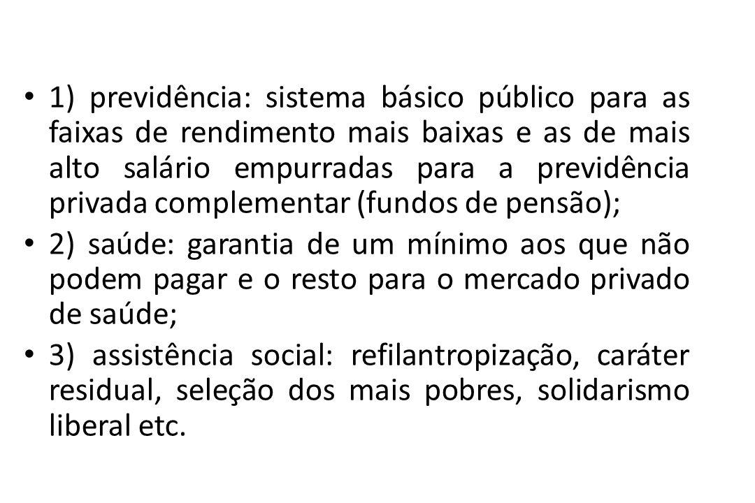 1) previdência: sistema básico público para as faixas de rendimento mais baixas e as de mais alto salário empurradas para a previdência privada comple
