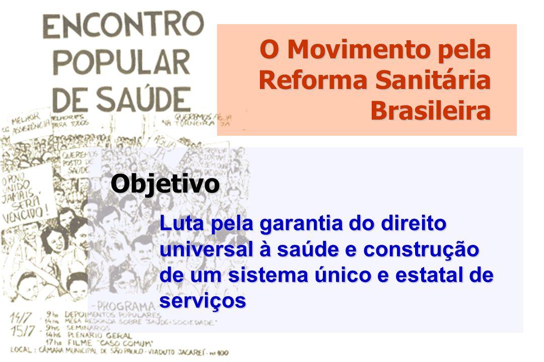 O Movimento pela Reforma Sanitária Brasileira Luta pela garantia do direito universal à saúde e construção de um sistema único e estatal de serviços O