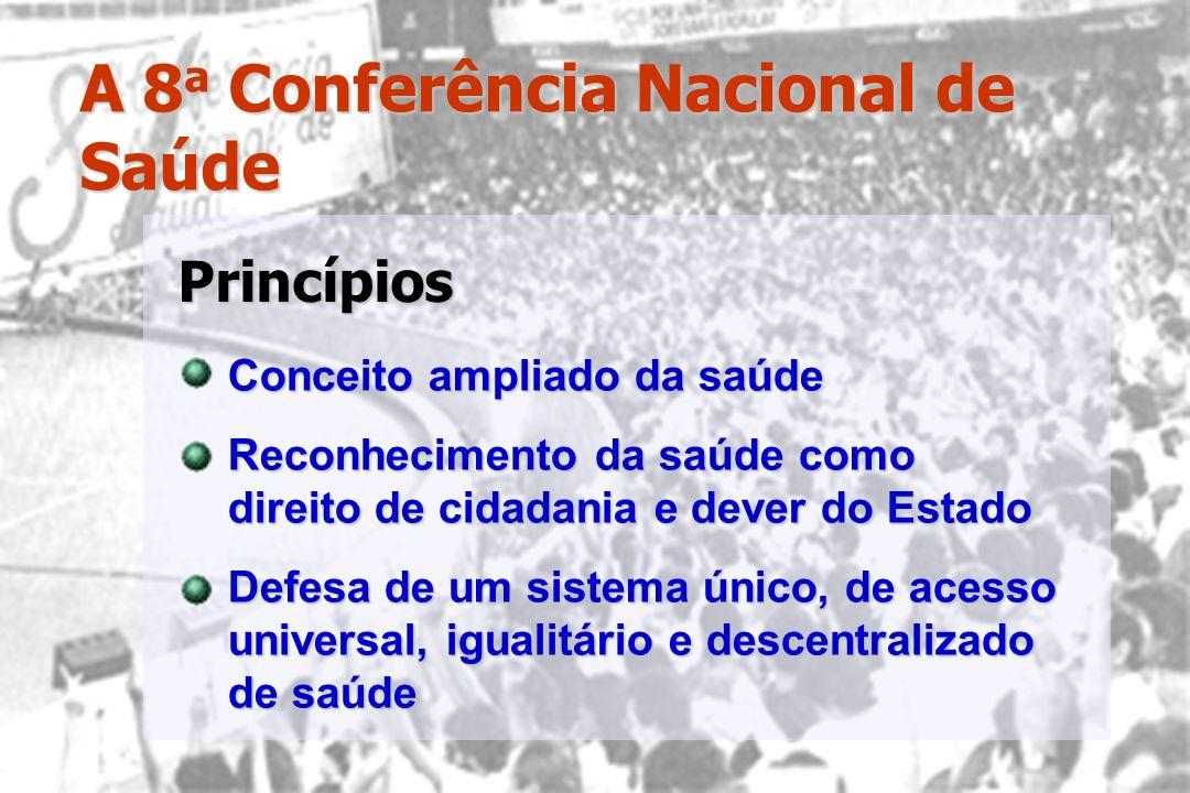 A 8 a Conferência Nacional de Saúde Conceito ampliado da saúde Reconhecimento da saúde como direito de cidadania e dever do Estado Defesa de um sistem