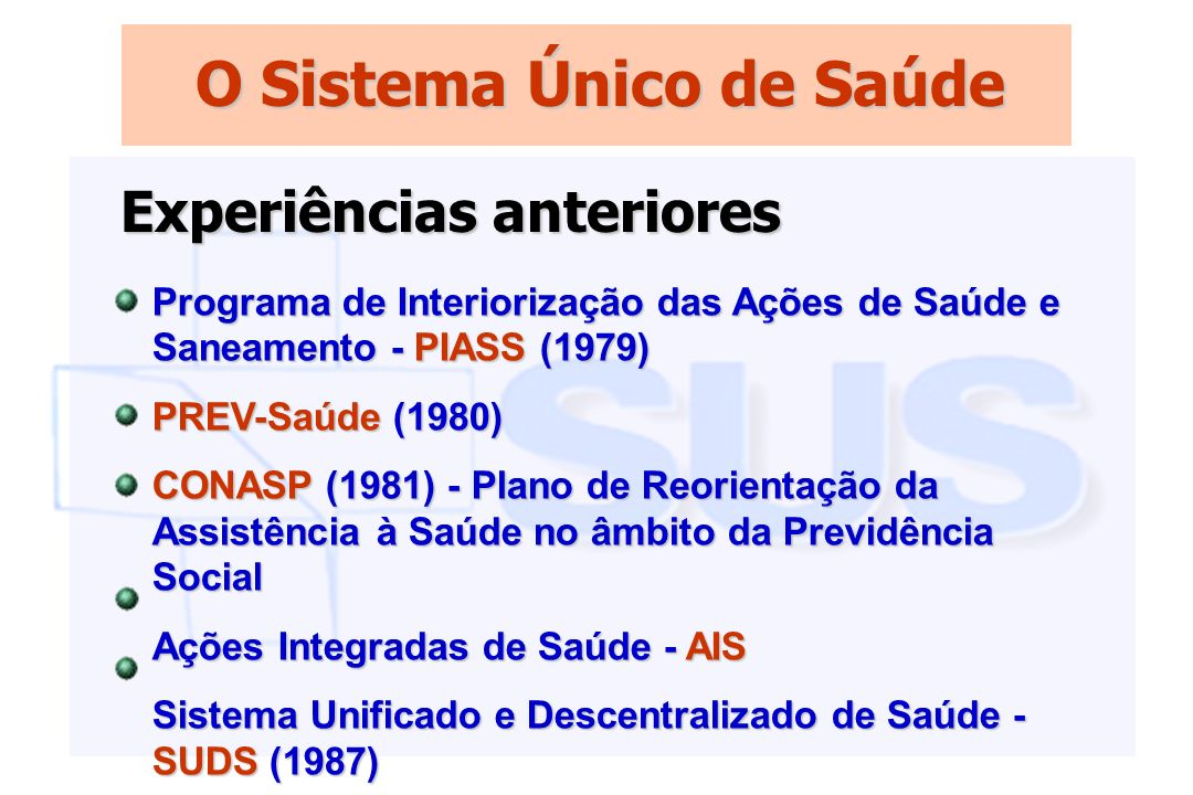 O Sistema Único de Saúde Programa de Interiorização das Ações de Saúde e Saneamento - PIASS (1979) PREV-Saúde (1980) CONASP (1981) - Plano de Reorient