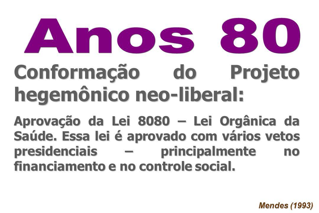 Conformação do Projeto hegemônico neo-liberal: Aprovação da Lei 8080 – Lei Orgânica da Saúde. Essa lei é aprovado com vários vetos presidenciais – pri