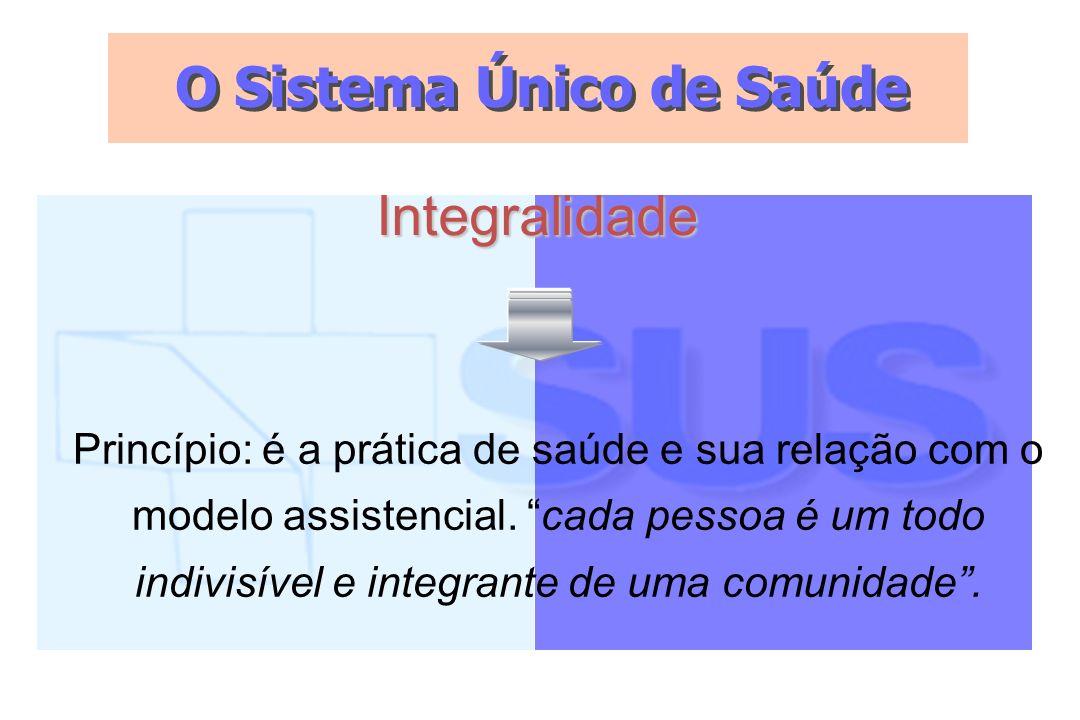 O Sistema Único de Saúde Integralidade Princípio: é a prática de saúde e sua relação com o modelo assistencial. cada pessoa é um todo indivisível e in