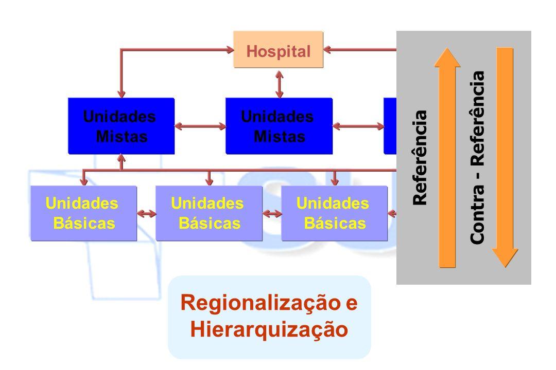 Hospital Unidades Mistas Unidades Básicas Referência Contra - Referência Regionalização e Hierarquização