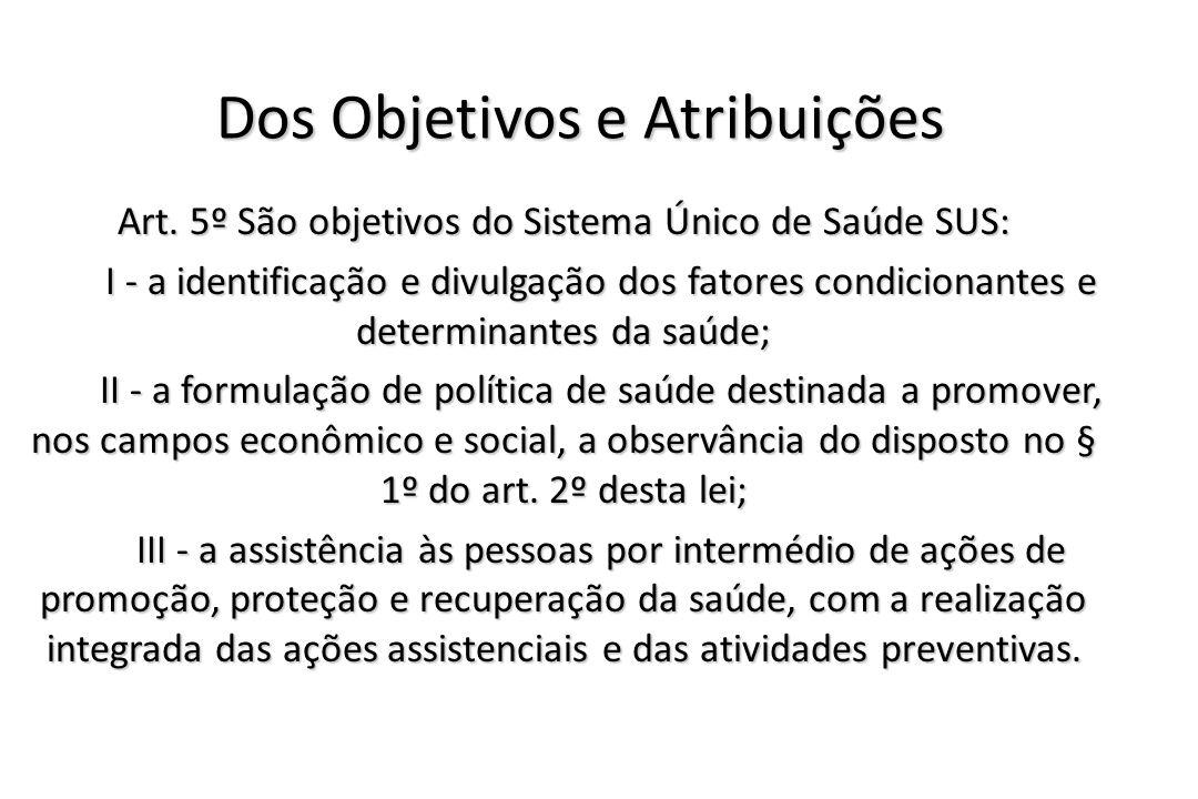 Dos Objetivos e Atribuições Art. 5º São objetivos do Sistema Único de Saúde SUS: I - a identificação e divulgação dos fatores condicionantes e determi