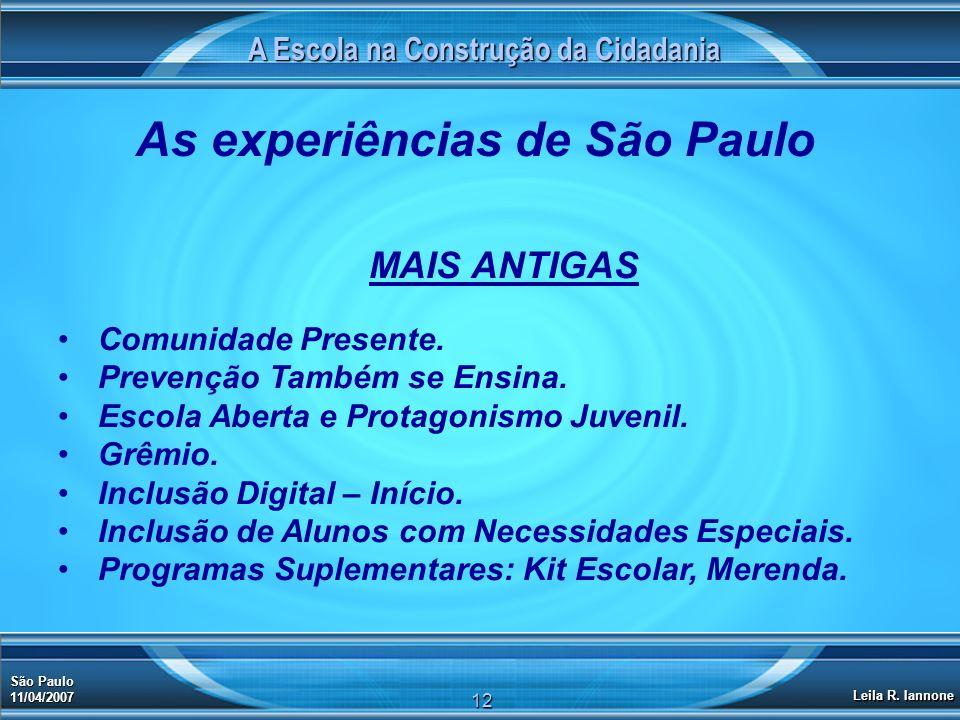 A Escola na Construção da Cidadania São Paulo 11/04/2007 Leila R. Iannone 12 As experiências de São Paulo MAIS ANTIGAS Comunidade Presente. Prevenção