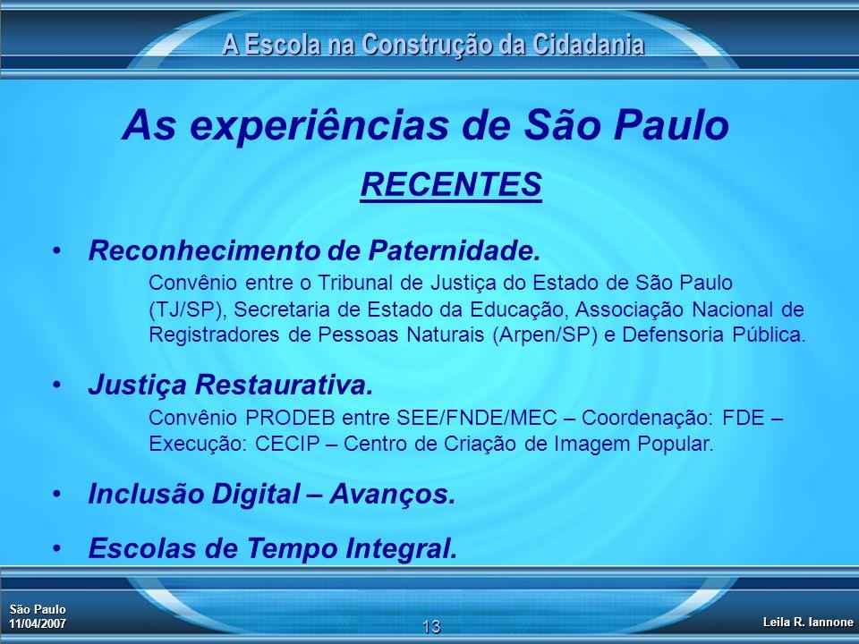 A Escola na Construção da Cidadania São Paulo 11/04/2007 Leila R. Iannone 13 As experiências de São Paulo RECENTES Reconhecimento de Paternidade. Conv