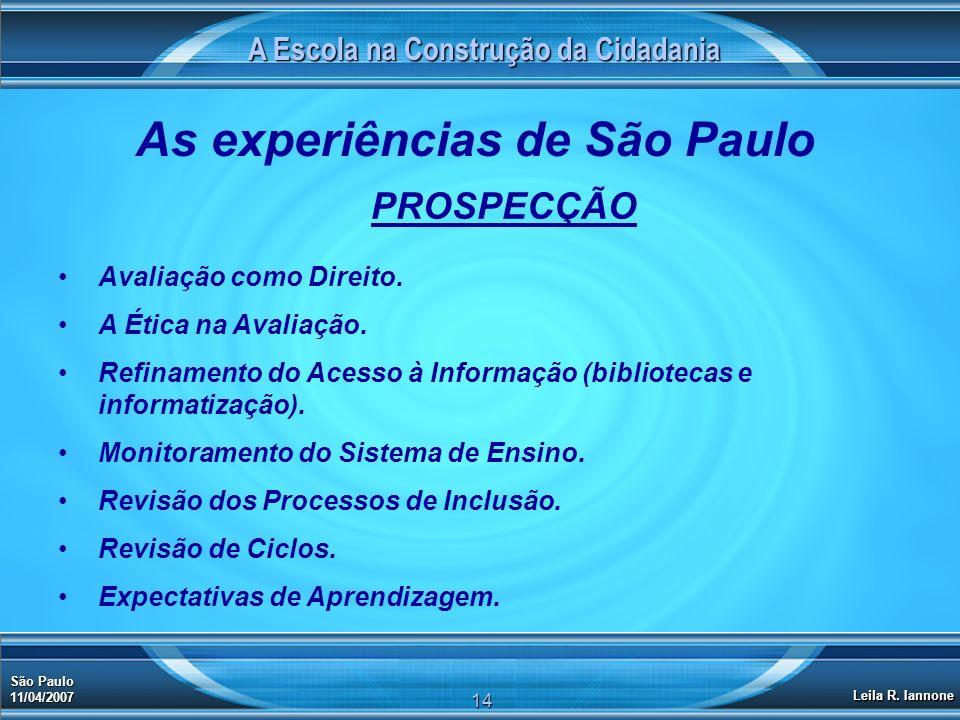 A Escola na Construção da Cidadania São Paulo 11/04/2007 Leila R. Iannone 14 As experiências de São Paulo PROSPECÇÃO Avaliação como Direito. A Ética n