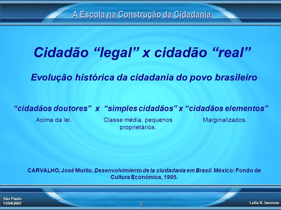 A Escola na Construção da Cidadania São Paulo 11/04/2007 Leila R. Iannone 6 Cidadão legal x cidadão real Evolução histórica da cidadania do povo brasi