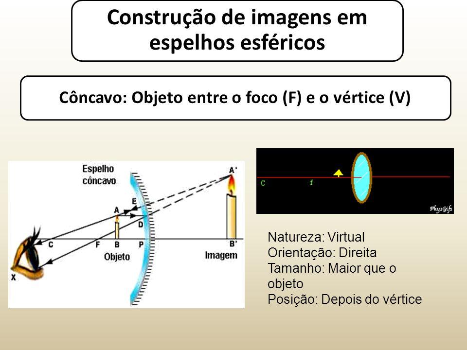 Côncavo: Objeto entre o foco (F) e o vértice (V) Natureza: Virtual Orientação: Direita Tamanho: Maior que o objeto Posição: Depois do vértice Construção de imagens em espelhos esféricos