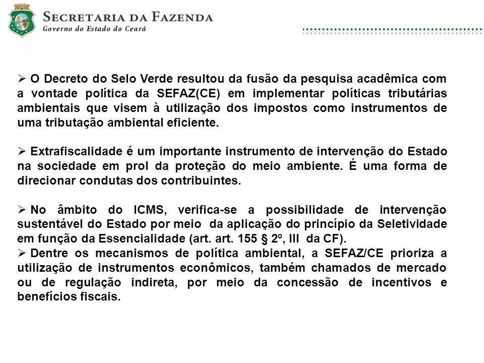 DISCIPLINA: DIREITO AMBIENTAL E ECOLOGIA O Decreto do Selo Verde resultou da fusão da pesquisa acadêmica com a vontade política da SEFAZ(CE) em implem