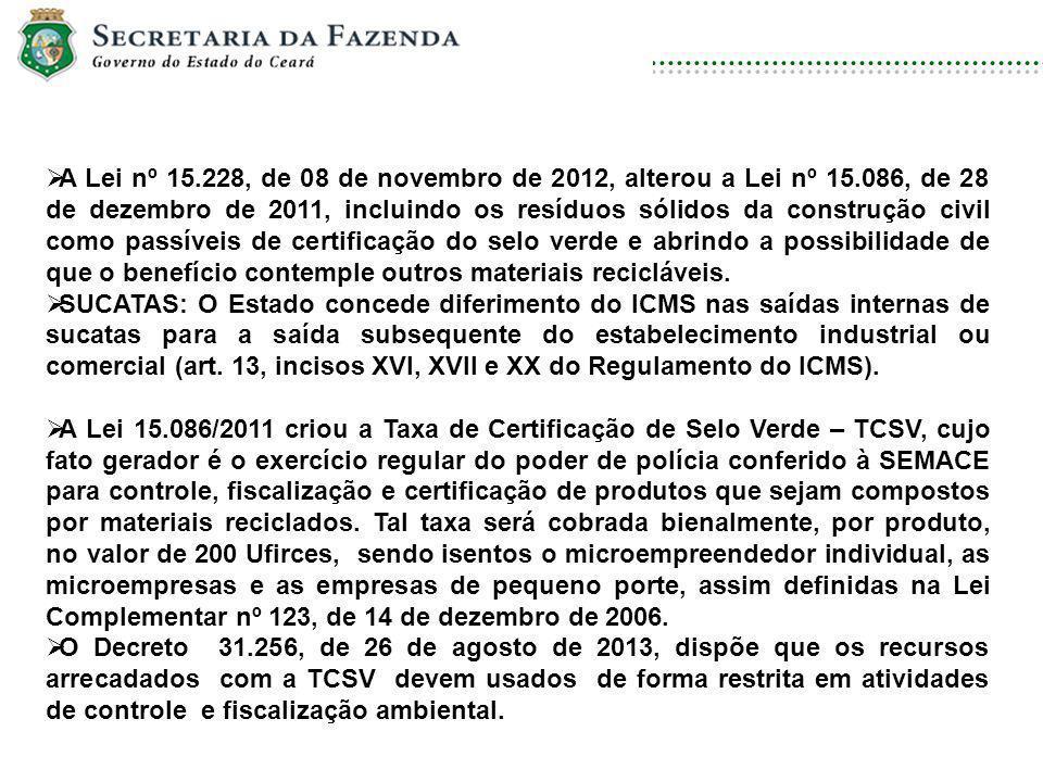 DISCIPLINA: DIREITO AMBIENTAL E ECOLOGIA A Lei nº 15.228, de 08 de novembro de 2012, alterou a Lei nº 15.086, de 28 de dezembro de 2011, incluindo os