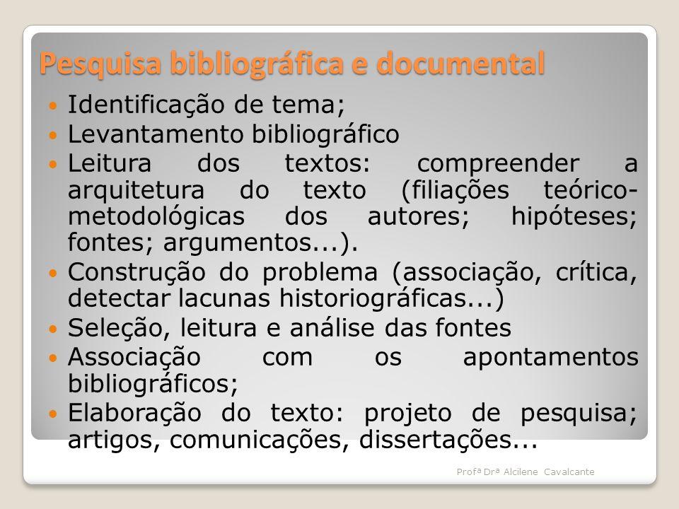 Pesquisa bibliográfica e documental Identificação de tema; Levantamento bibliográfico Leitura dos textos: compreender a arquitetura do texto (filiaçõe