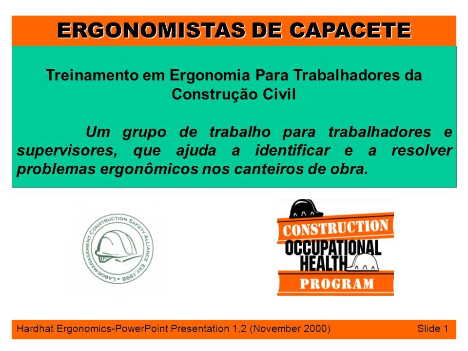 ERGONOMISTAS DE CAPACETE Hardhat Ergonomics-PowerPoint Presentation 1.2 (November 2000) Slide 1 Treinamento em Ergonomia Para Trabalhadores da Constru