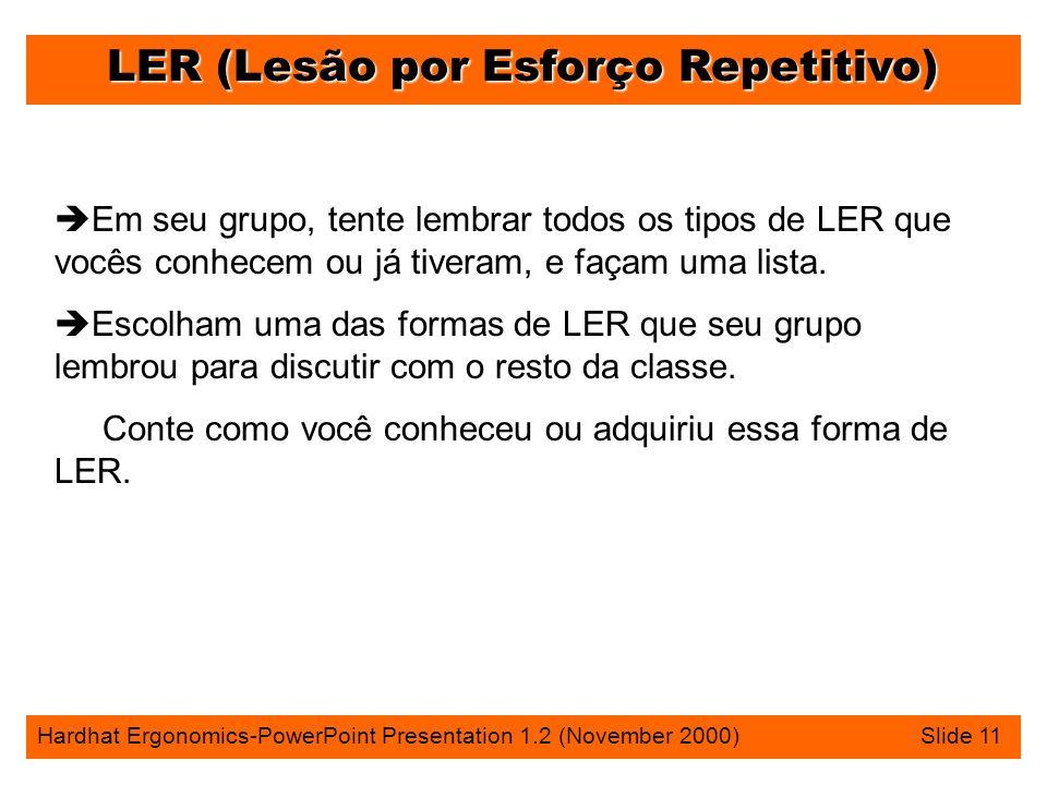 LER (Lesão por Esforço Repetitivo) Hardhat Ergonomics-PowerPoint Presentation 1.2 (November 2000) Slide 11 è Em seu grupo, tente lembrar todos os tipos de LER que vocês conhecem ou já tiveram, e façam uma lista.