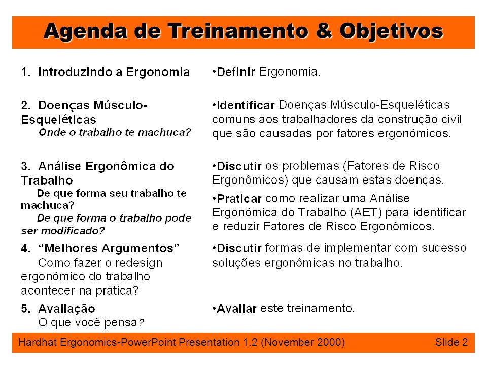 Agenda de Treinamento & Objetivos Hardhat Ergonomics-PowerPoint Presentation 1.2 (November 2000) Slide 2