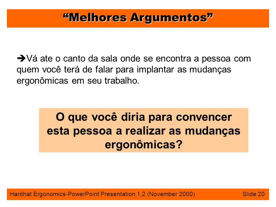 Melhores Argumentos Hardhat Ergonomics-PowerPoint Presentation 1.2 (November 2000) Slide 20 è Vá ate o canto da sala onde se encontra a pessoa com que