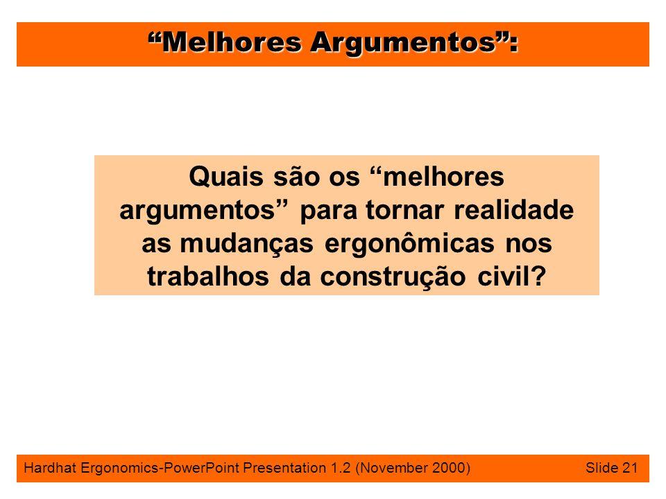 Melhores Argumentos: Hardhat Ergonomics-PowerPoint Presentation 1.2 (November 2000) Slide 21 Quais são os melhores argumentos para tornar realidade as mudanças ergonômicas nos trabalhos da construção civil?
