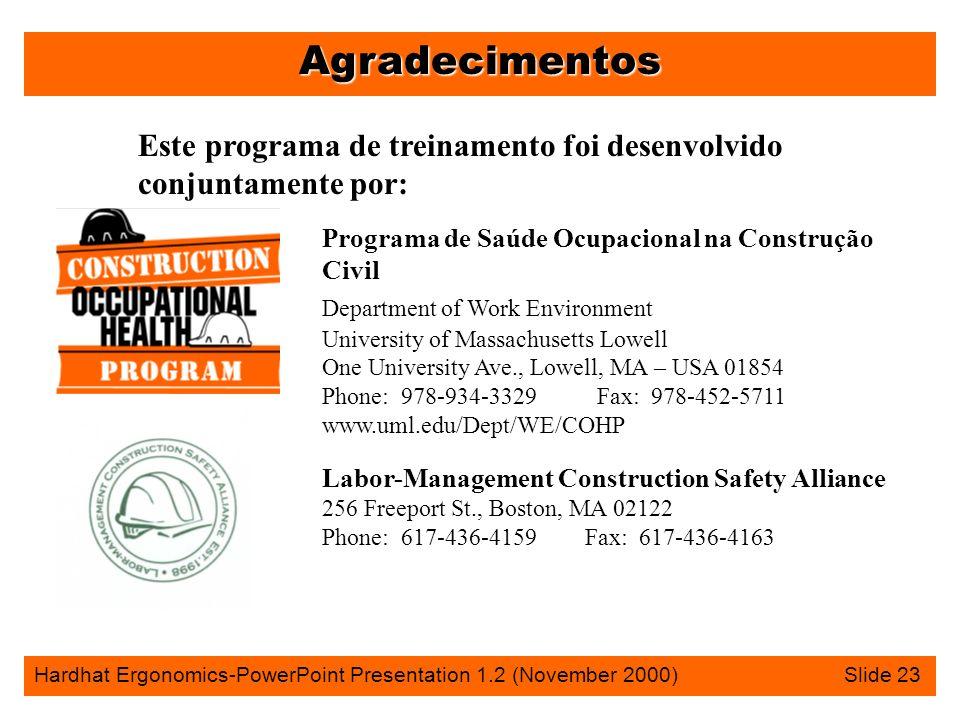 Agradecimentos Hardhat Ergonomics-PowerPoint Presentation 1.2 (November 2000) Slide 23 Programa de Saúde Ocupacional na Construção Civil Department of Work Environment University of Massachusetts Lowell One University Ave., Lowell, MA – USA 01854 Phone: 978-934-3329 Fax: 978-452-5711 www.uml.edu/Dept/WE/COHP Labor-Management Construction Safety Alliance 256 Freeport St., Boston, MA 02122 Phone: 617-436-4159 Fax: 617-436-4163 Este programa de treinamento foi desenvolvido conjuntamente por: