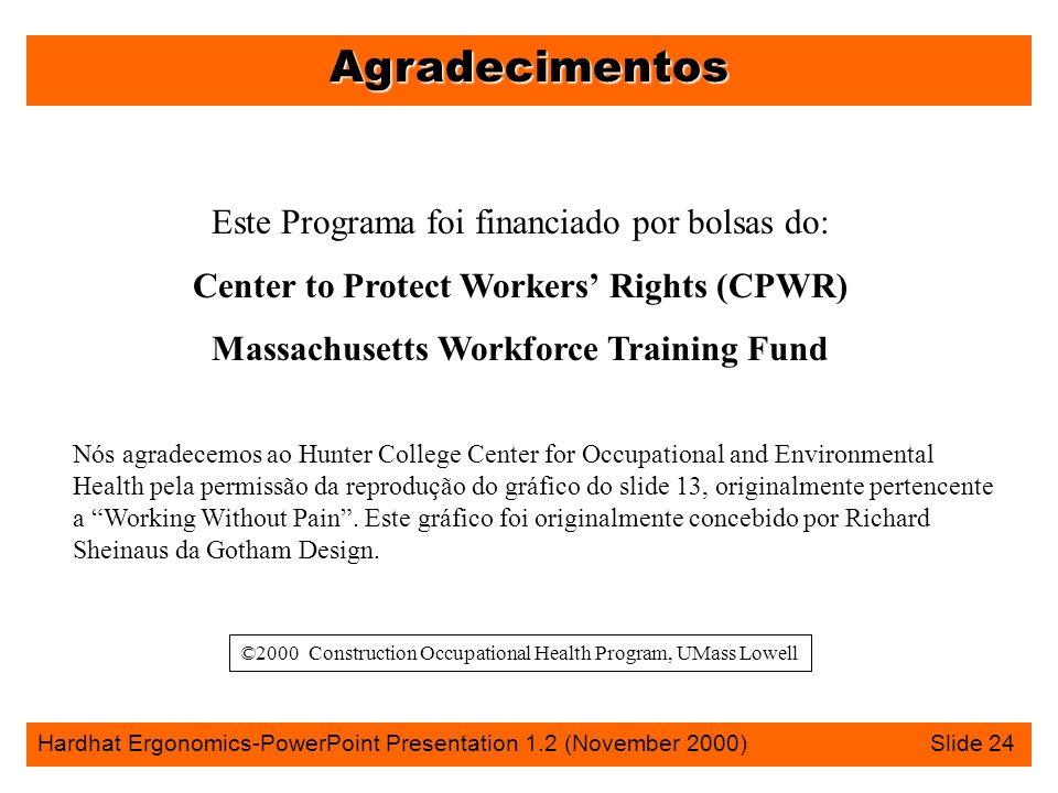 Agradecimentos Hardhat Ergonomics-PowerPoint Presentation 1.2 (November 2000) Slide 24 Este Programa foi financiado por bolsas do: Center to Protect W