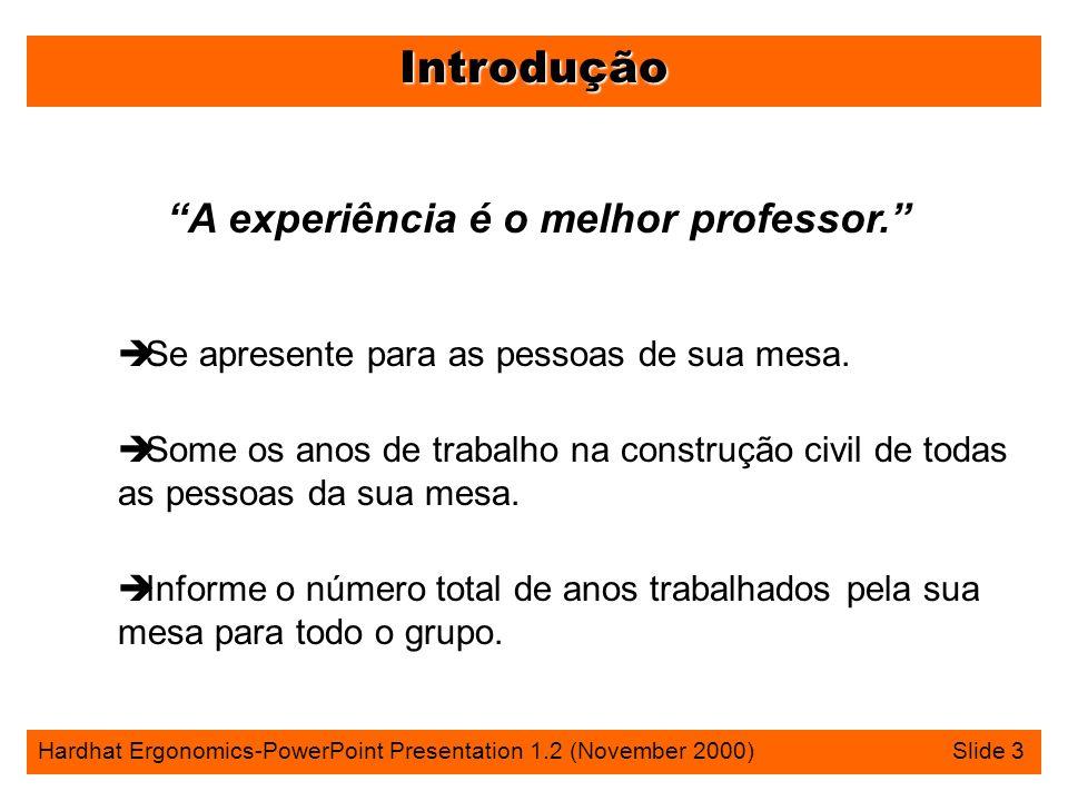 Introdução Hardhat Ergonomics-PowerPoint Presentation 1.2 (November 2000) Slide 3 A experiência é o melhor professor.