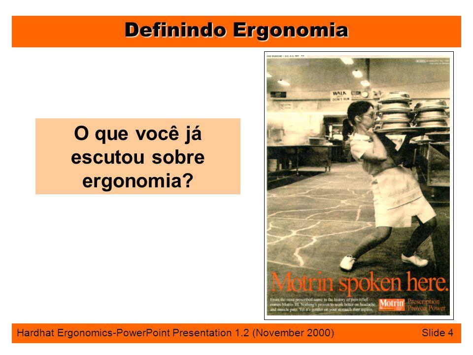Definindo Ergonomia Hardhat Ergonomics-PowerPoint Presentation 1.2 (November 2000) Slide 4 O que você já escutou sobre ergonomia?