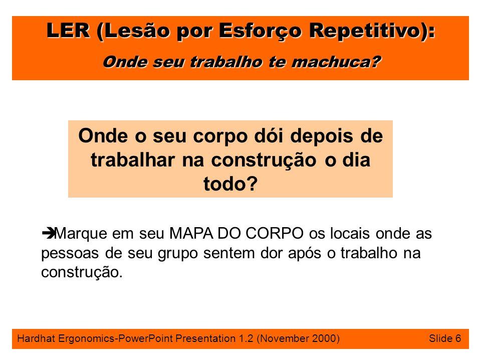 LER (Lesão por Esforço Repetitivo): Onde seu trabalho te machuca? Hardhat Ergonomics-PowerPoint Presentation 1.2 (November 2000) Slide 6 Onde o seu co