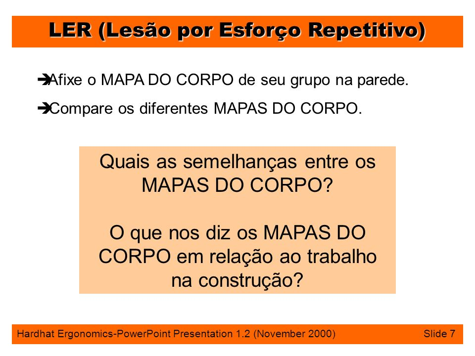 LER (Lesão por Esforço Repetitivo) Hardhat Ergonomics-PowerPoint Presentation 1.2 (November 2000) Slide 7 è Afixe o MAPA DO CORPO de seu grupo na parede.
