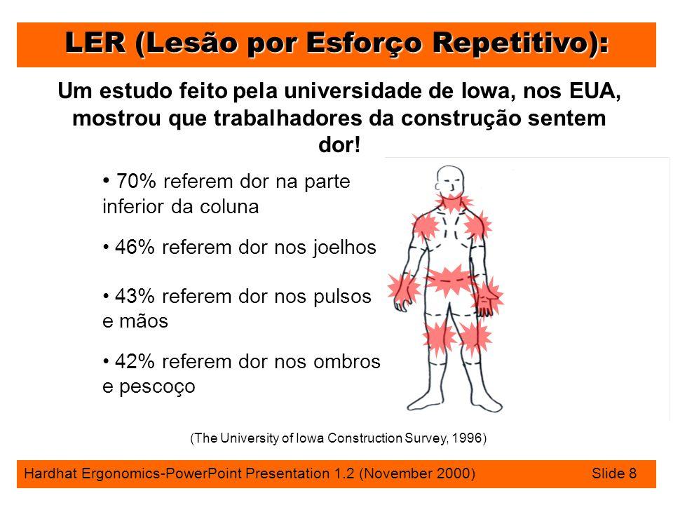 LER (Lesão por Esforço Repetitivo): Hardhat Ergonomics-PowerPoint Presentation 1.2 (November 2000) Slide 8 Um estudo feito pela universidade de Iowa, nos EUA, mostrou que trabalhadores da construção sentem dor.
