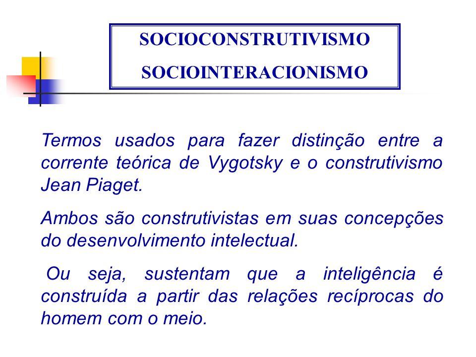 SOCIOCONSTRUTIVISMO SOCIOINTERACIONISMO Termos usados para fazer distinção entre a corrente teórica de Vygotsky e o construtivismo Jean Piaget.