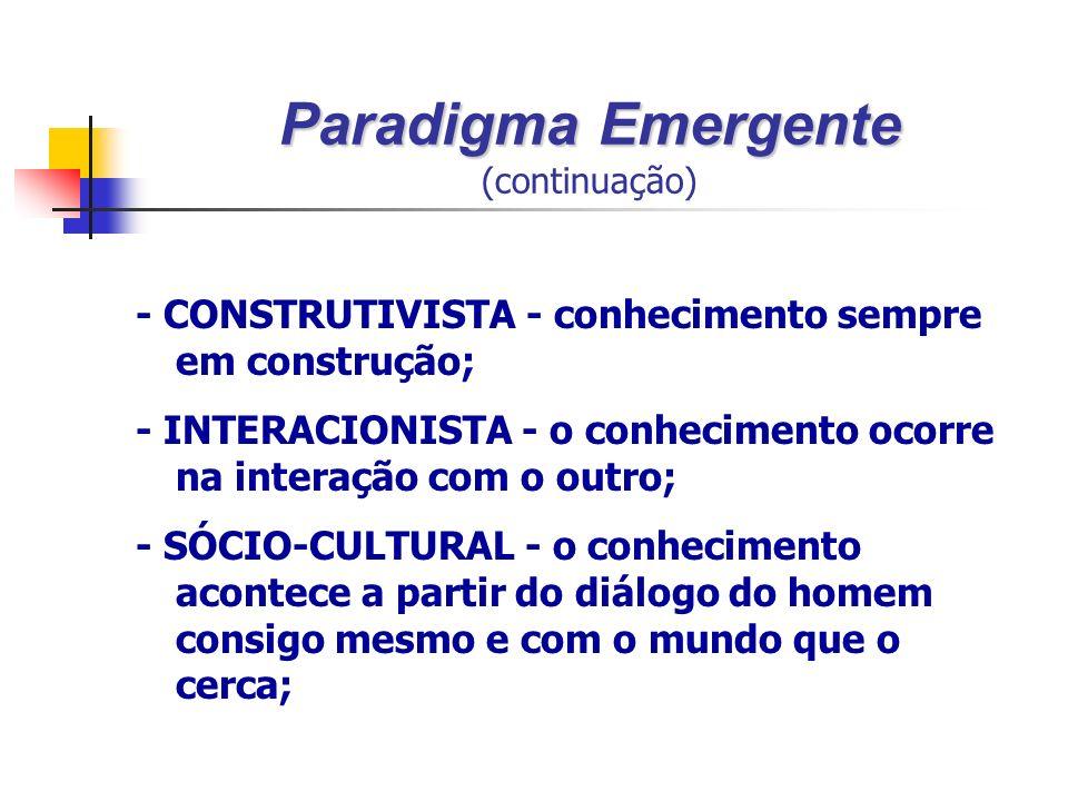 Paradigma Emergente Paradigma Emergente (continuação) - CONSTRUTIVISTA - conhecimento sempre em construção; - INTERACIONISTA - o conhecimento ocorre na interação com o outro; - SÓCIO-CULTURAL - o conhecimento acontece a partir do diálogo do homem consigo mesmo e com o mundo que o cerca;