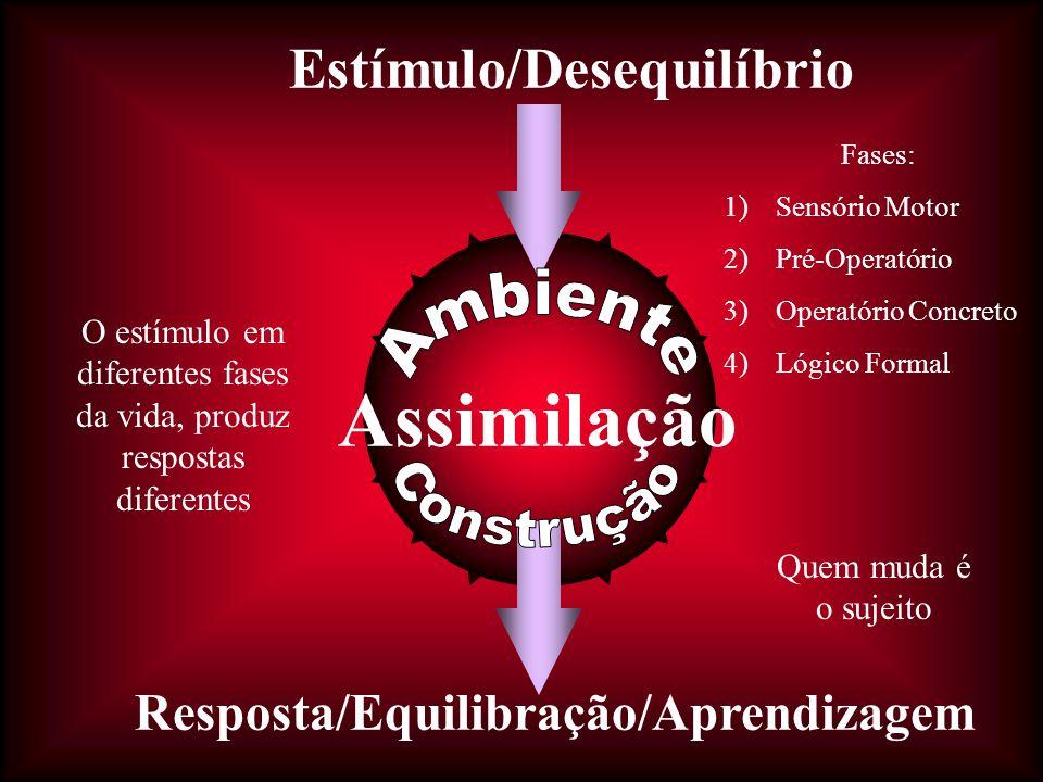 Estímulo/Desequilíbrio Resposta/Equilibração/Aprendizagem Assimilação Quem muda é o sujeito O estímulo em diferentes fases da vida, produz respostas diferentes Fases: 1)Sensório Motor 2)Pré-Operatório 3)Operatório Concreto 4)Lógico Formal