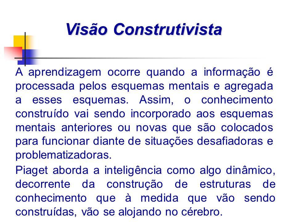 A aprendizagem ocorre quando a informação é processada pelos esquemas mentais e agregada a esses esquemas.