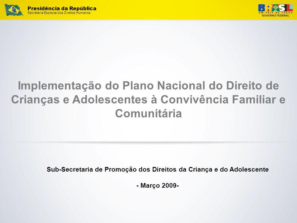 Presidência da República Secretaria Especial dos Direitos Humanos Implementação do Plano Nacional do Direito de Crianças e Adolescentes à Convivência