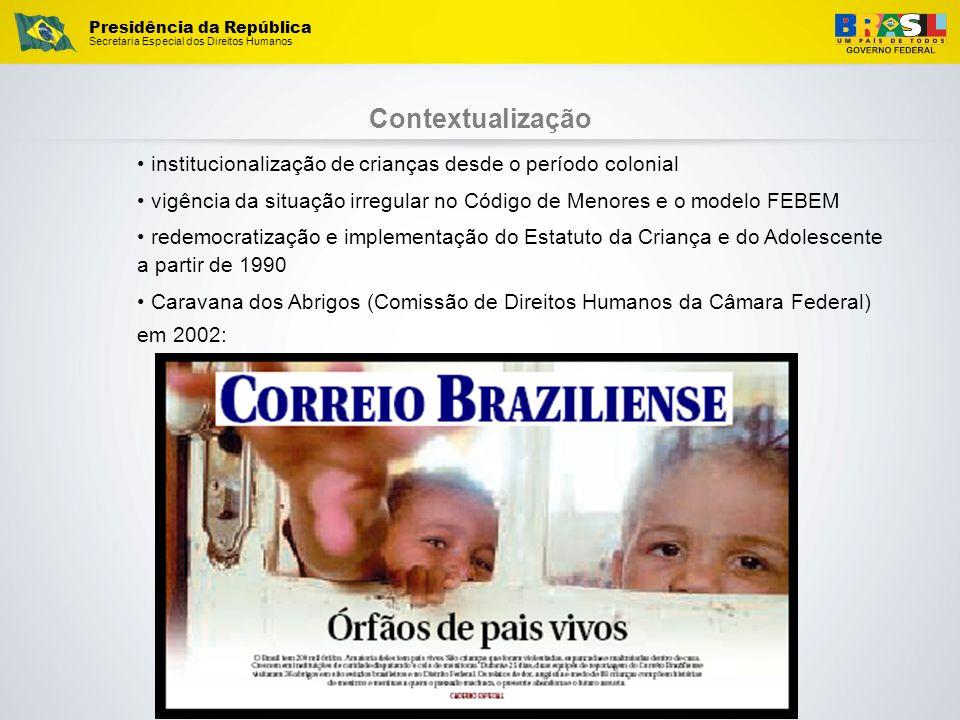 Presidência da República Secretaria Especial dos Direitos Humanos Contextualização institucionalização de crianças desde o período colonial vigência d